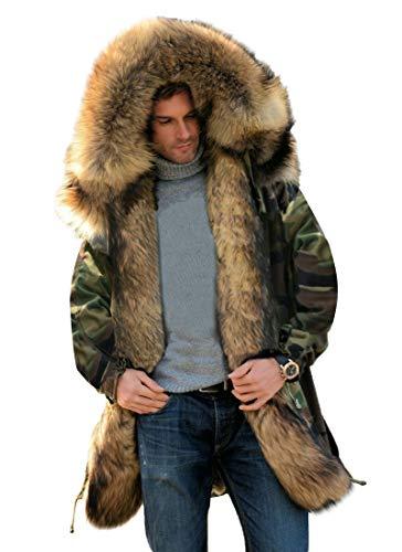 Aofur Mens Winter Warm Thick Faux Fur Slim Trench Coat Long Jacket Parka Hooded Pea Coat Winter Coat S-XXXL (XXX-Large, Camo Green)