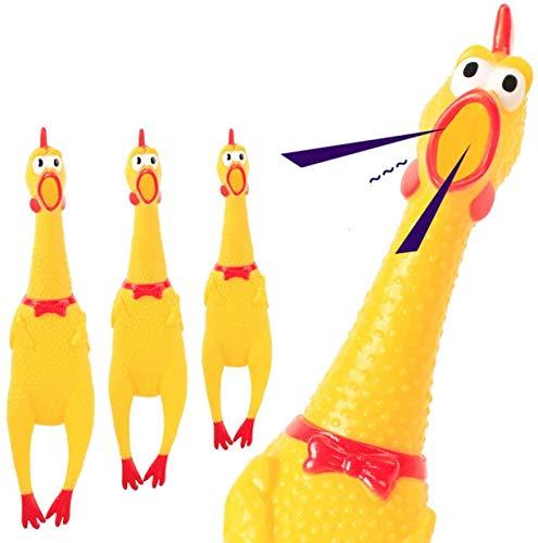 BCVBFGCXVB - Pollo in gomma gialla che urla di pollo, giocattolo in gomma resistente, per bambini e cani, 30 cm