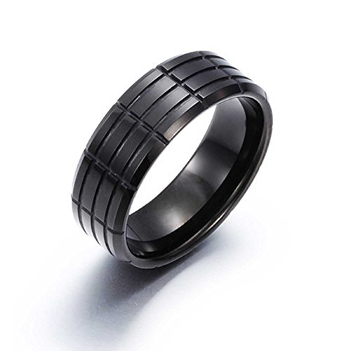 NELSON KENT Herren Striped Wolfram Stahl Einfacher Schwarzer Ringe Größe59(18.8)