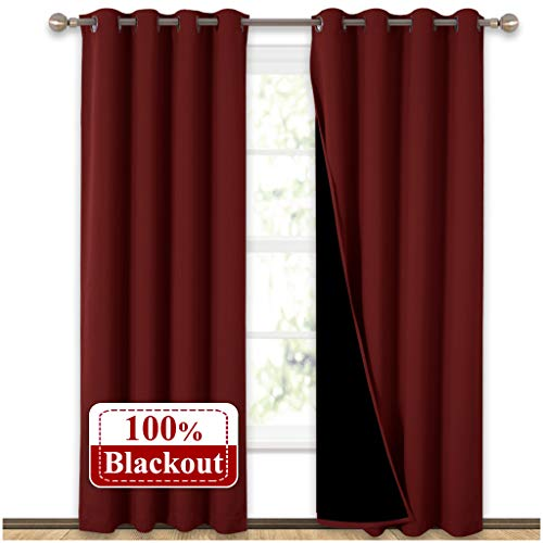 NICETOWN 100% Blackout Curtains with Black Liner Backing,...