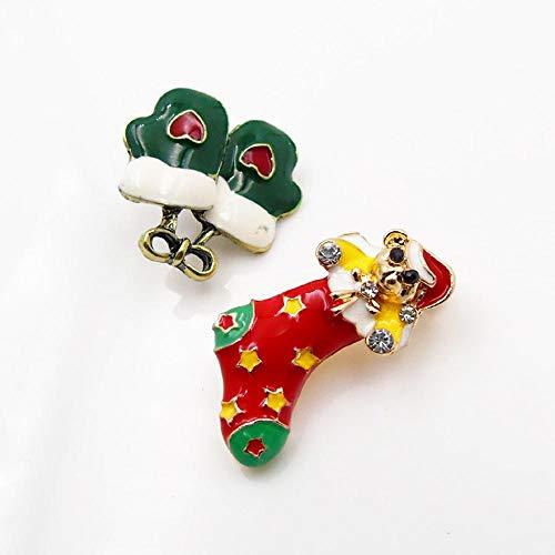 Wooden fish Weihnachts-Schmuck-Mode-Legierung Diamant Weihnachten Socken Handschuhe Brosche 2-teiliges Set