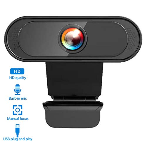 LTLJX HD Computer Webcam USB Web Camera with Clear Stereo Audio for Skype, Video Calling, Conferencing, Recording, Streaming, 360° Adjustable