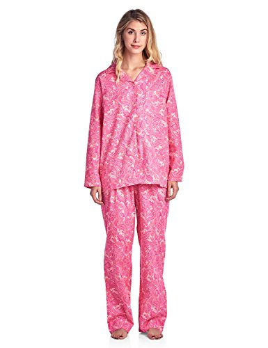 Casual Nights Women's Flannel Long Sleeve Button Down Pajama Set - Paisley Pink - XX-Large
