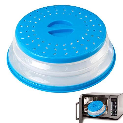 N\O Faltbare Mikrowellenabdeckhaube mit Sieb, Mikrowelle Platte Abdeckung, Mikrowellen Abdeckung für Obst und Gemüse, BAP-frei und ungiftig, Blau