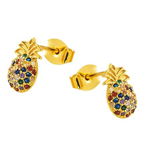 yotijar Pendientes creativos chapados en oro de 18 quilates, diseño de piña, gema