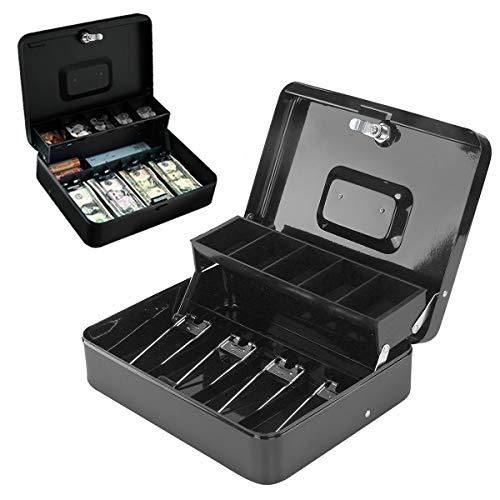 """AllRight 12"""" Caisse à Monnaie Cassette Sécurité Coffre-Fort en Acier Inoxydable Portable Petite Enregistreuse Cassette 2 Tiers Titulaire 2 Touches Serrure"""