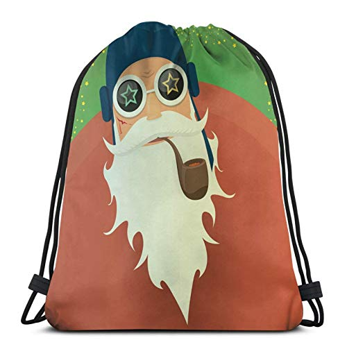 Drawstring Backpack Bags,Chunky Rocking Santa Clause With A Smoking Pipe And A Big Beard,Gym Sports String Bags Cinch Bags