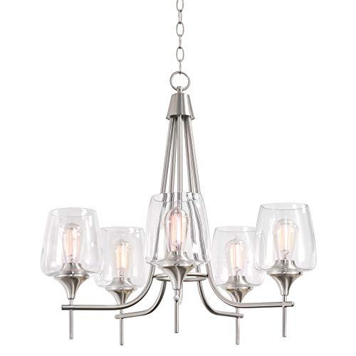 "Kira Home Stella 26"" Large Modern Chic 5-Light Chandelier + Wine Glass Shades, Brushed Nickel Finish"