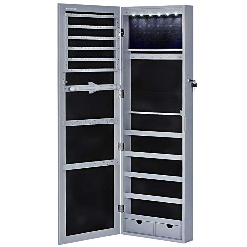 """SONGMICS 6 LEDs Cabinet Lockable 47.2"""" H Wall/Door Mounted Jewelry Armoire Organizer with Mirror, 2 Drawers, Gray UJJC93GY"""