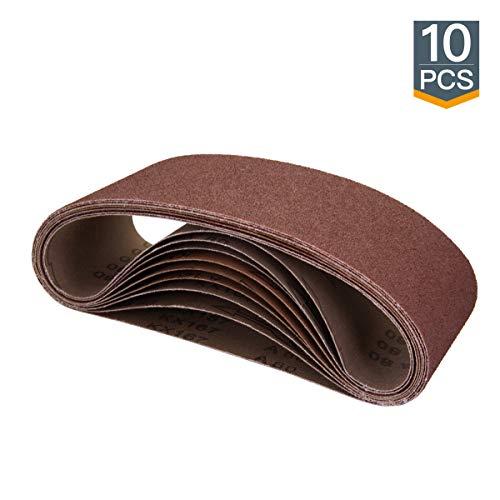 POWERTEC 110060 4 x 24 Inch Sanding Belts | 40 Grit Aluminum Oxide Sanding Belt | Premium Sandpaper For Portable Belt Sander – 10 Pack