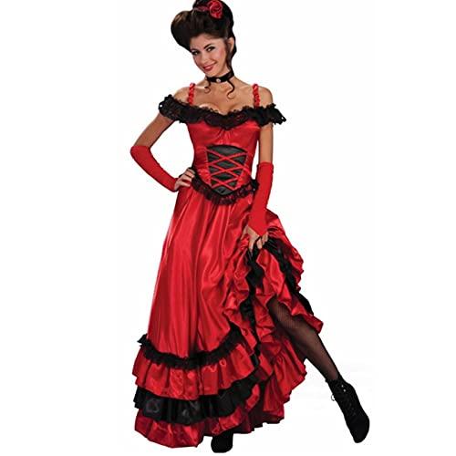 Cloudy Sexy Encaje Rojo Pino salón Chica Ropa Occidental España Gypsy Four Four Cocho Vestido de Baile más pequeña Ropa de Fiesta de Halloween