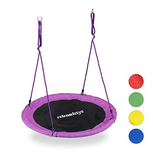 Relaxdays Nestschaukel, Outdoor Schaukel für Kinder & Erwachsene, Ø 110 cm, bis 100 kg, rund, Tellerschaukel, lila