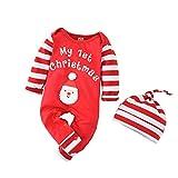 Geagodelia - Pelele de Navidad para bebé, 2 unidades, con gorro, estampado de...