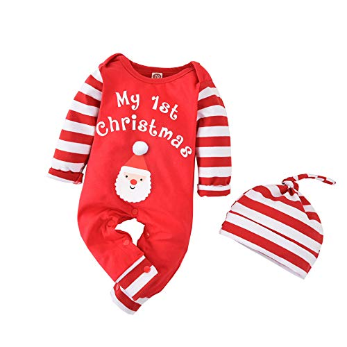 First Christmas Outfit Newborn Baby Boy Girl Christmas Romper Long Sleeve Santa Striped Bodysuit Hat Xmas Romper Set (Stripe+Hat, 0-3 Months)