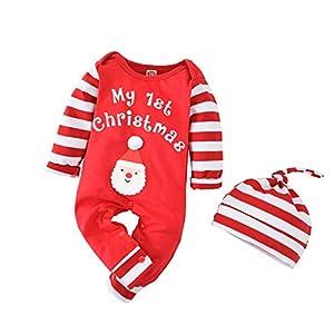 Geagodelia - Pelele de Navidad para bebé, 2 unidades, con gorro, estampado de letras My First Christmas de manga larga a rayas de algodón navideño rojo 3-6 Meses
