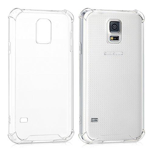 kwmobile 1x Funda Transparente Compatible con Samsung Galaxy S5 / S5 Neo Carcasa de Silicona TPU con protección en Las Esquinas