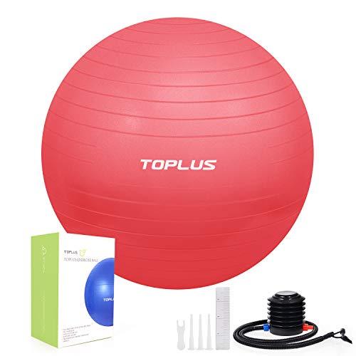 TOPLUS - Palla fitness per yoga, pilates, fitness (rosso, 65 cm)