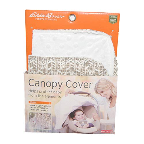 Eddie Bauer First Adventure Canopy Cover - White Minky Light Brown Feather Design - Unisex