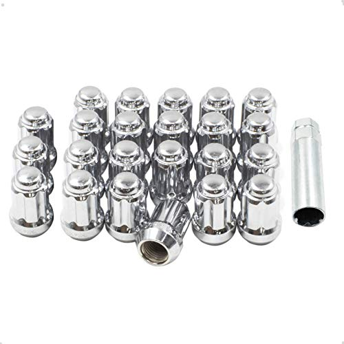 Wheel Accessories Parts Set of 23 Chrome 14x1.5 Lug Nuts Truck Spline Bulge Acorn 1.5' Long, M14x1.5 Thread Small Diameter Lug Nut Kit with 1 Socket Key