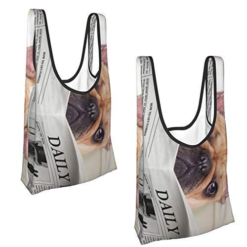 Einkaufstaschen mit französischer Bulldogge, wiederverwendbar, umweltfreundlich, 2 Stück, Schwarz (schwarz), Einheitsgröße