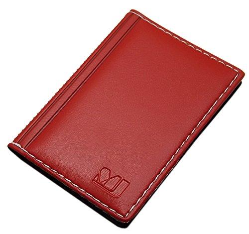 MJ-Design-Germany - Elegante custodia per carte di credito e biglietti da visita con cuciture a contrasto, 12 scomparti, prodotta in UE Rosso Design 1 / rosso.