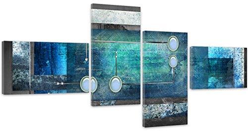 Feeby Frames, Quadro multipannello di 4 Pannelli, Quadro su Tela, Stampa Artistica, Canvas, Tipo Z, 200x100 cm, ASTRAZIONE, Cerchi, RETTANGOLI, CORNICI, Grigio, Blu