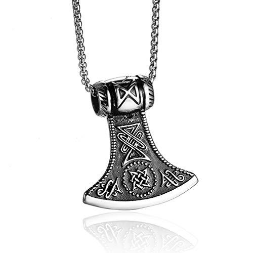 Htulip Wikinger Halskette 316L Edelstahl Nordische Odin Axt Keltischer Knoten Thors Hammer Anhänger Halskette für Herren Amulett Halskette