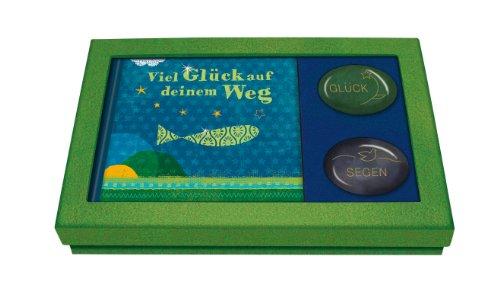 Viel Glück auf deinem Weg: Geschenkbox mit Büchlein und zwei Handschmeichler-Edelsteinen