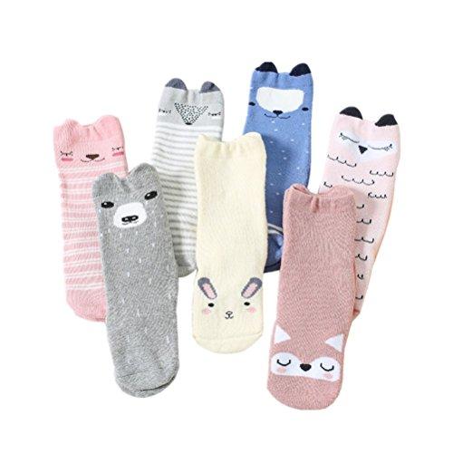 AMEIDD Chaussettes bébé, 7 paires Chaussettes bébé garçon fille haut bas chaussettes antidérapantes Réchauffeur de Legging tricoté Bas doux et chauds enfant Chaussons pour 0-3 ans (M/1-3 ans)