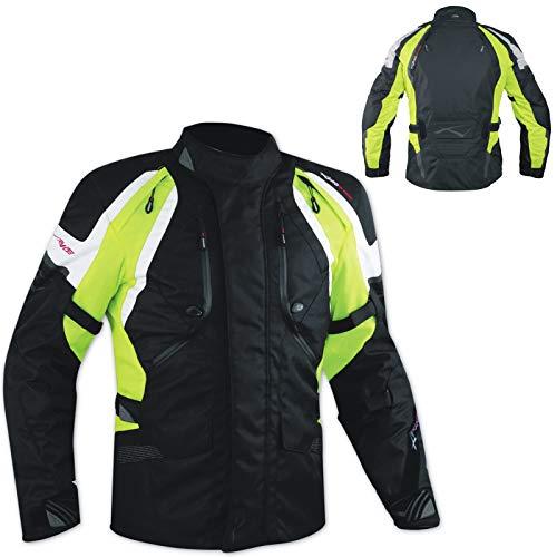Blouson Etanche 4 Saisons Protections Renforts Thermique Textile Moto Fluo L