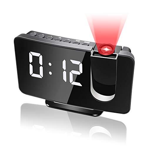 Anykuu Despertador Proyector con FM Radio, Reloj Despertador Digital con Puerto USB, Proyección Digital de Techo, Despertadores Digitales Brillo Adjustable, Alarma Dual, Snooze, Números Blancos