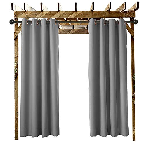 Outdoor Curtain Grommet Eyelet Grey 84' W x 84' L For Front Porch, Pergola, Cabana, Covered Patio, Gazebo, Dock, and Beach Home (1 Panel).