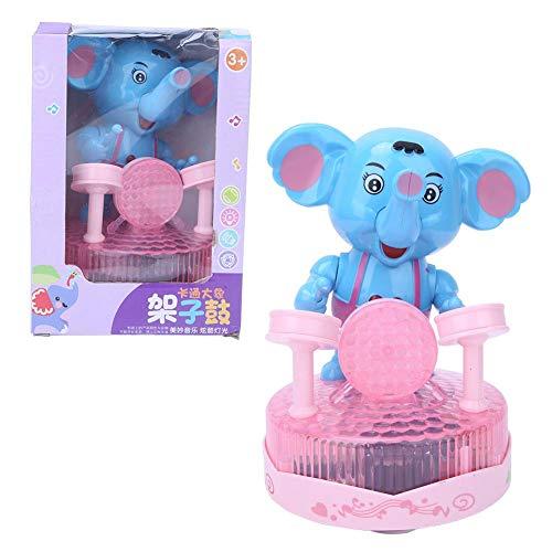 Zerodis Glückliches Elefant Schlagzeuger Spielzeug elektrisches Musik Licht Universalrad Elefant Trommeln pädagogisches Spielzeug(Blau)