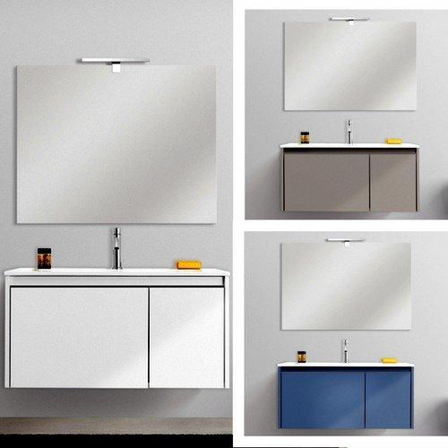 Arredo Bagno Mobile sospeso Five 80 cm o 100 cm Bianco Tortora Oceano specchiera lavabo Resina mobili I