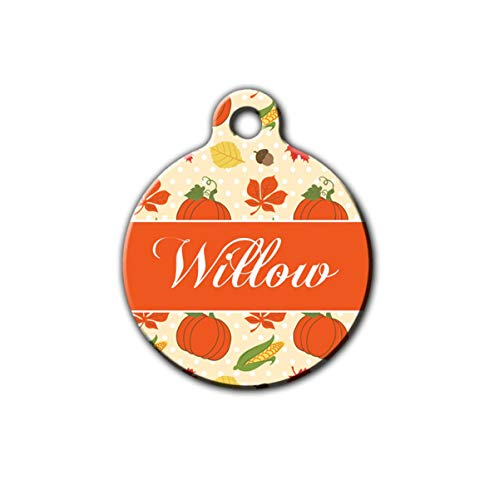 DKISEE Pumpkin Pet Tag Fall Pet Tag Autumn Pet Gift Harvest Thanksgiving Pet Tag Fall Gift Cute Pet Tag Cat Id Personalized Dog Tag Cat Tag Pet ID Tag Round Metal Stainless Steel Pet ID Tag