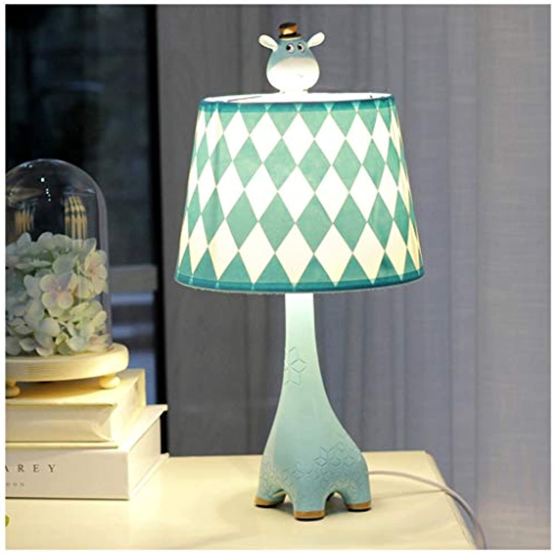 CJW Giraffenschlafzimmer-Nachttischlampe - kreatives warmes Auge der Kinderzimmerkarikatur (Farbe   Blau-19cmX37cm)