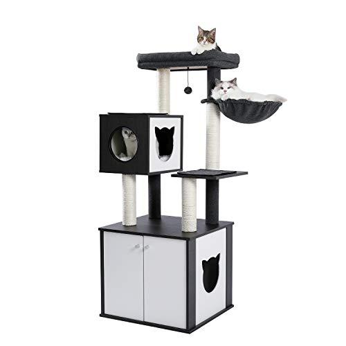 PETEPELA 59'' All-in-One Cat Tree Multifunctional Modern...