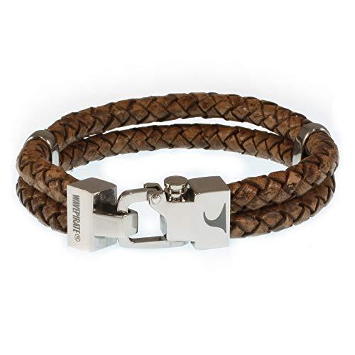 WAVEPIRATE® Echt Leder-Armband Turn F Cognac 24 cm Edelstahl-Verschluss in Geschenk-Box Surfer Herrenarmband Männer