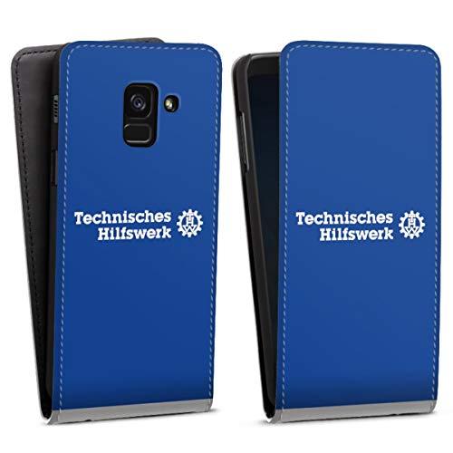 DeinDesign Flip Hülle kompatibel mit Samsung Galaxy A8 Duos 2018 Tasche Weiß Hülle Technisches Hilfswerk THW Lebensretter