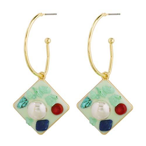 YAZILIND 1 par mujeres aleación joyería pendientes imitación perlas geométricas dangle moda étnica Vintage gota larga Rhombus verde