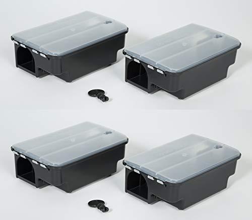 Köder-Discount: 4 x Köderstation Ratte mit Warnaufklebern I Effektive Köderbox zum Auslegen von Rattengift