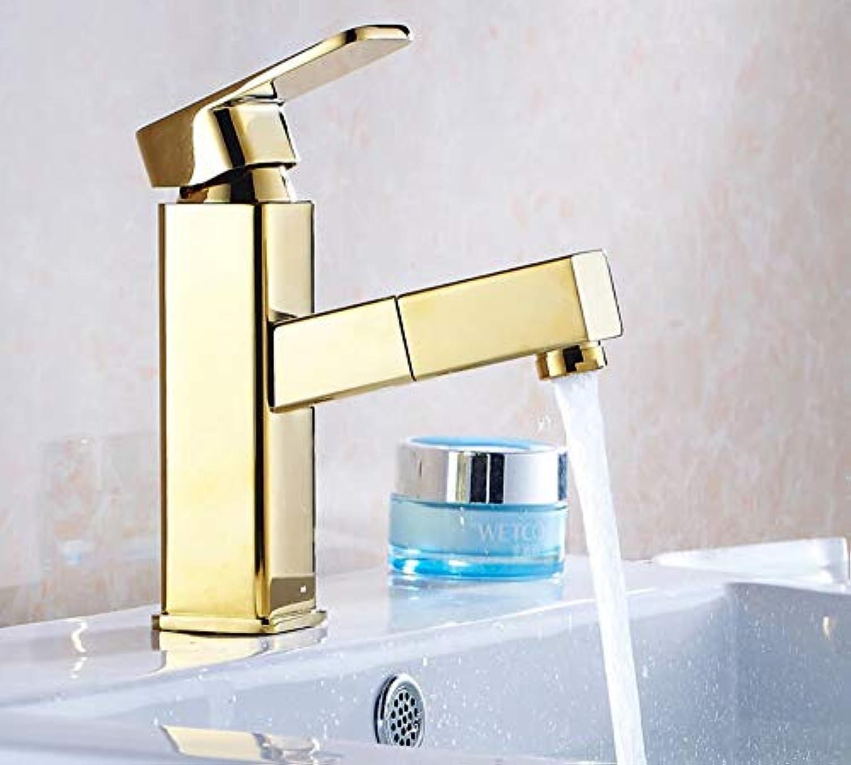 Waschtischarmatur Hochwertiges Messingmaterial Chrom Warm Und Kalt Einhebel-Waschbecken Wasserhahn Mischbatterie Mit Herausziehbaren Duschkopf