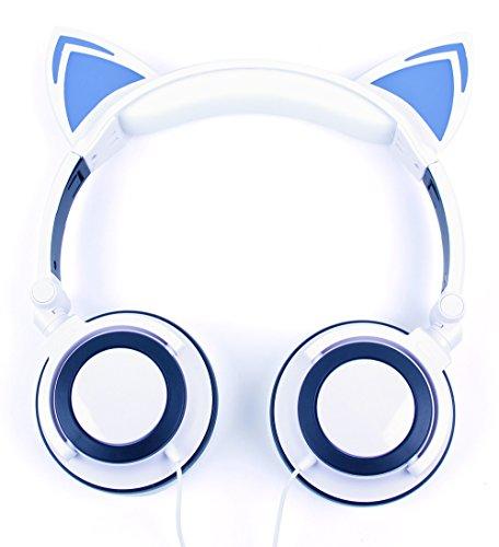 DURAGADGET Auriculares Plegables estéreo con diseño de Orejas de Gato en Color Blanco para Smartphone Alcatel A3, A5, One Touch A206, U5, BLU Grand M, BLU Life MAX, BLU Studio XL 2, BLU Vivo 6, XL2