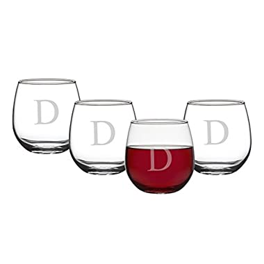 Cathy's Concepts Personalized 16.75 oz. Stemless Red Wine Glasses, Set of 4, Letter D