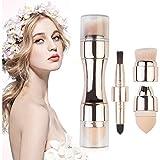 4 en 1 Ensemble de pinceaux de maquillage Professionnel Naturel Portable Pinceau de Maquillage pour le Visage avec Tête de Brosse Remplaçable