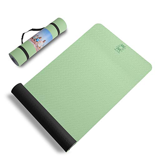 WWWW Yoga Mat Eco Friendly TPE Non Slip Yoga Mats by SGS Certified with Carrying...