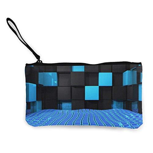 Gpedadf13 Unisexe Cube_Squares_Space_Blue_Black Porte-Monnaie en Toile à glissière, Trousse à Maquillage, Trousse pour téléphone Portable avec poignée