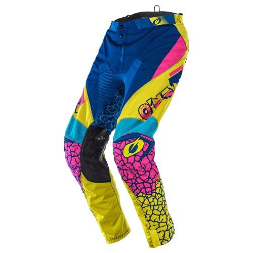 O'NEAL | Motocross-Hose | MTB Enduro MX | Superleichte Hose mit großer Bewegungsfreiheit, Athletische Passform, Mesh-Innenfutter | Mayhem Pants Crackle 91 | Erwachsene | Gelb Weiß Blau | Größe 42/58