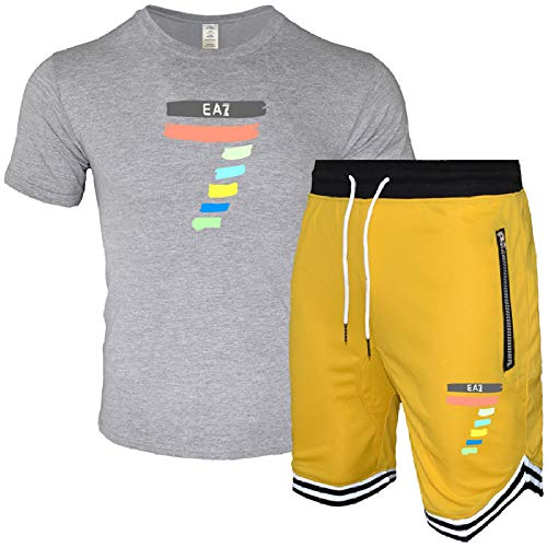 HOSD Herren Reißverschluss Mesh Sportstreifen Pumps Shorts Baumwolle Rundhalsausschnitt Kurzarm T-Shirt Anzug