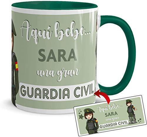 Kembilove Tazas de Café Personalizadas de Profesiones – Taza de Desayuno Aquí Bebe una Gran Guardia Civil con Nombre Personalizado – Tazas de Desayuno para Profesionales – Tazas de 350 ml